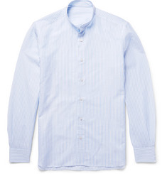 Caruso - Slim-Fit Grandad-Collar Striped Slub Cotton and Linen-Blend Shirt