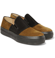 Dries Van Noten - Grosgrain-Panelled Suede Slip-On Sneakers