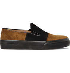 Dries Van Noten Grosgrain-Panelled Suede Slip-On Sneakers