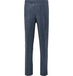 Richard James Blue Slim-Fit Slub Wool and Linen-Blend Puppytooth Suit Trousers