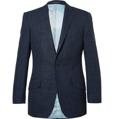 Richard James Blue Hyde Slim-Fit Checked Wool, Silk and Linen-Blend Blazer