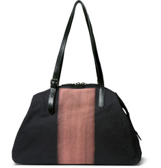 Dries Van Noten Leather-Trimmed Two-Tone Cotton-Canvas Holdall