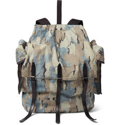 Dries Van Noten Leather-Trimmed Camouflage-Print Canvas Backpack