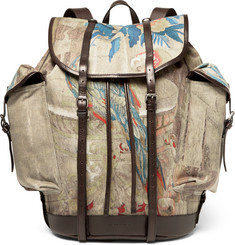 Dries Van Noten Printed Twill and Leather Backpack