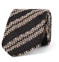 Dries Van Noten 6cm Striped Wool, Silk and Linen-Blend Tie