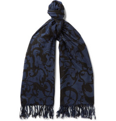 Dries Van Noten Froster Fringed Printed Cotton and Silk-Blend Scarf
