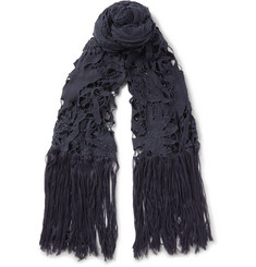 Dries Van Noten Flame Fringed Macramé and Cotton-Voile Scarf