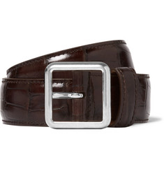 Balenciaga 3cm Brown Croc-Effect Leather Belt