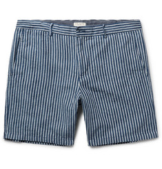 Club Monaco Baxter Striped Linen and Cotton-Blend Shorts