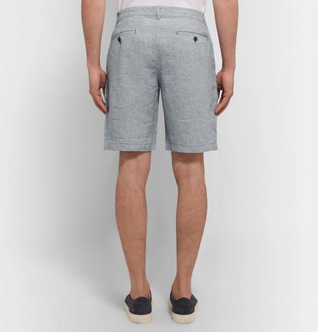 CLUB MONACO Maddox Houndstooth Slub Linen Shorts