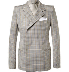 Balenciaga Beige Double-Breasted Checked Cotton Suit Jacket