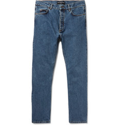 Balenciaga Slim-Fit Cropped Stonewashed Denim Jeans