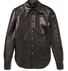 Balenciaga Slim-Fit Leather Western Shirt