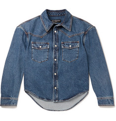 Balenciaga Cropped Stonewashed Denim Western Overshirt