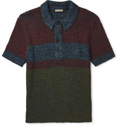 Bottega Veneta Printed Ribbed-Knit Polo Shirt