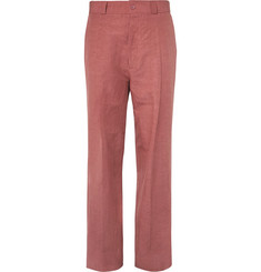 Bottega Veneta Wide-Leg Slub Cotton and Linen-Blend Trousers
