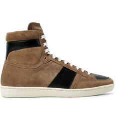 Saint Laurent SL10 Leather-Panelled Suede High-Top Sneakers