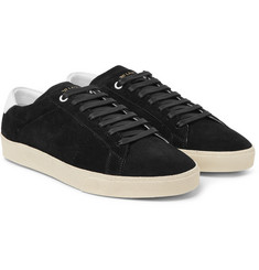 Saint Laurent - SL/06 Court Classic Leather-Trimmed Suede Sneakers