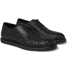 Bottega Veneta - Intrecciato-Trimmed Leather Derby Shoes