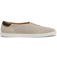 WANT LES ESSENTIELS Tesla Leather-Trimmed Organic Cotton-Canvas Sneakers