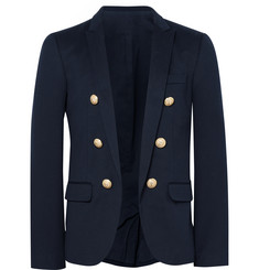 Balmain Blue Slim-Fit Cotton-Jersey Blazer