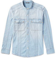 Balmain Grandad-Collar Denim Shirt