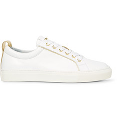 Balmain Metallic-Trimmed Leather Sneakers