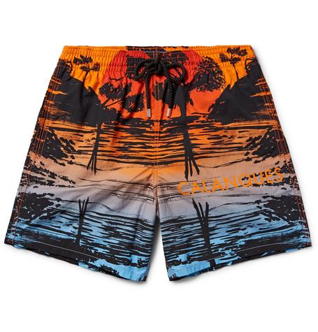 Vilebrequin Moorea Mid-length Printed Swim Shorts In Bright Orange