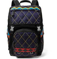 Prada Saffiano Leather-Trimmed Quilted Nylon Backpack