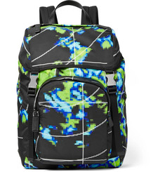 Prada Leather-Trimmed Printed Shell Backpack