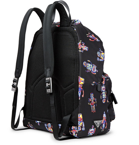 PRADA Leather-Trimmed Robot-Print Nylon Backpack