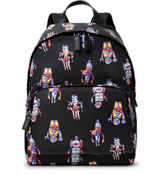 Prada Leather-Trimmed Robot-Print Shell Backpack