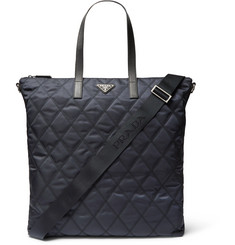 Prada Saffiano Leather-Trimmed Quilted-Shell Shoulder Bag