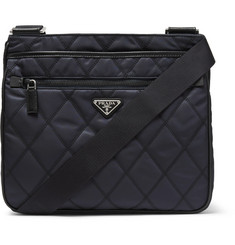 Prada - Saffiano Leather-Trimmed Quilted-Shell Shoulder Bag