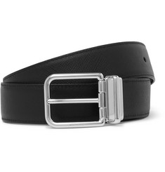 Prada 3.5cm Black and Navy Reversible Saffiano Leather Belt