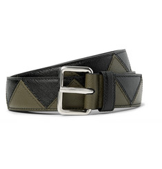 Prada - 3cm Two-Tone Saffiano Leather Belt