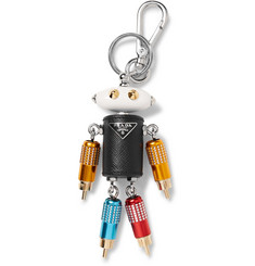 Prada Robot Steel and Saffiano Leather Key Fob