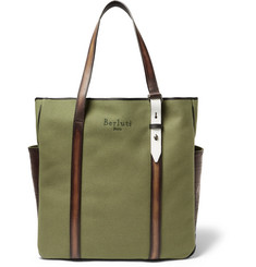 Berluti Chill Out Canvas and Polished-Leather Tote Bag