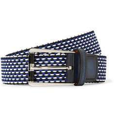 Berluti - 3cm Leather-Trimmed Woven Cotton Belt