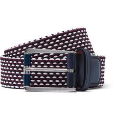 Berluti Leather-Trimmed Woven Cotton Belt