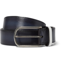 Berluti 3.5cm Blue Polished-Leather Belt