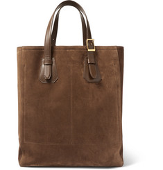 TOM FORD North West Leather-Trimmed Suede Tote Bag