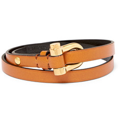 TOM FORD Leather Gold-Tone Wrap Bracelet