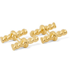 TOM FORD - Twisted Gold-Tone Silver Cufflinks