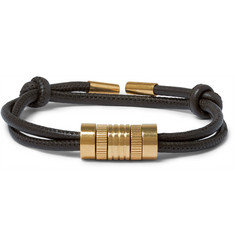 TOM FORD - Leather and Gold-Plated Sterling Silver Bracelet