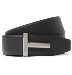 TOM FORD - 4cm Black and Brown Reversible Grained-Leather Belt