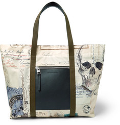Alexander McQueen Letters From India Leather and Printed Shell Tote Bag