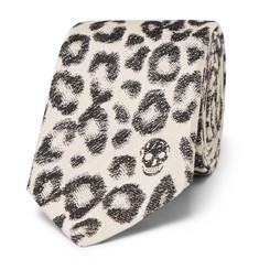 Alexander McQueen 6.5cm Leopard-Print Cotton and Silk-Blend Jacquard Tie