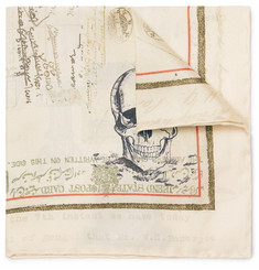 Alexander McQueen Letters From India Printed Silk Pocket Square