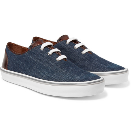 Leather-trimmed Denim Sneakers - Blue